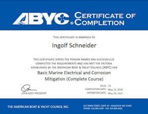 Bootsgutachter Zertifikat ABYC