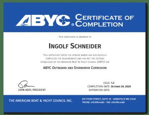 Sachverständiger für Boote Zertifikat ABYC | Ingolf Schneider